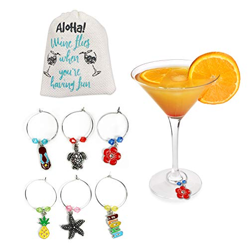 Hawaiian Beach Tropical Wine Glass Charms, Beach Theme Favors - Set of 6 with White Linen Storage Bag by Cork & Leaf
