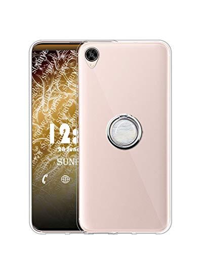 Sunrive Kompatibel mit Oppo R7s Hülle Silikon, Transparent Handyhülle 360°drehbarer Ständer Ring Fingerhalter Fingerhalterung Schutzhülle Etui Hülle(Weisser Marmor) MEHRWEG