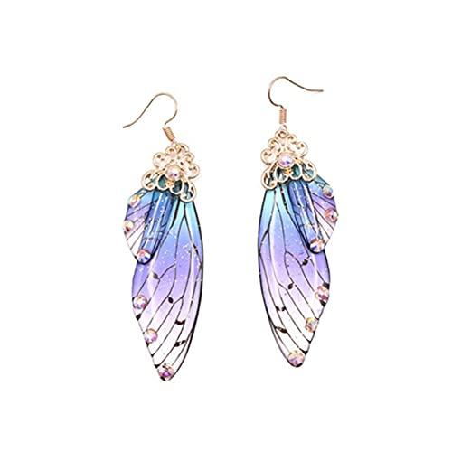 CeFoney Schmetterling-Ohrringe, Zikadenflügel, lange bunte Ohrringe, Brautschmuck, transparente Schmetterlingsflügel, Kristall-Ohrringe, farbige Ohrringe für Frauen