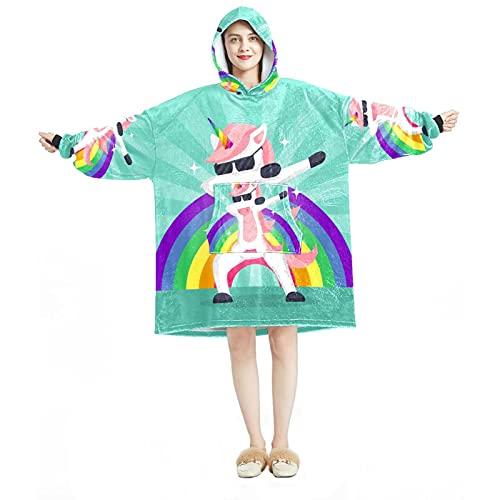 Manta con capucha, informal de microfibra suave, camisón cálido para hombres y mujeres con divertidos animales haciendo movimiento dabbing diseños