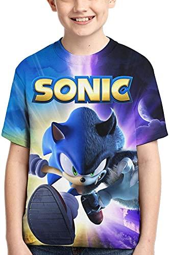 MPY-SEA Sonic T-Shirt The Hedgehog 3D Sommer Kurzarm Shirts Lässige Grafik Tops T-Shirt Für Mädchen Und Jungen (Sonic3,160)