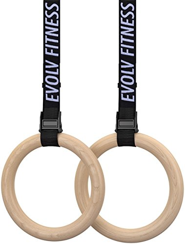 EVOLV FITNESS Wooden Gymnastics Rings (Adjustable Straps + Gymnastic Rings + Bonus E-Book) Heavy Duty Olympic Competition Bodyweight Trainer | [Elite Edition]