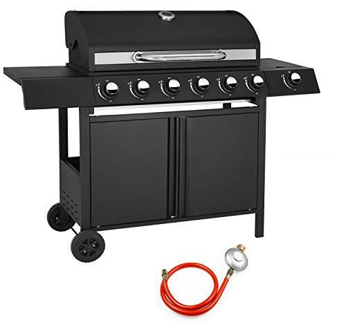 Ribelli® Gasgrill Standgrill Grillwagen Grill 6 Edelstahl Brenner Seitenbrenner