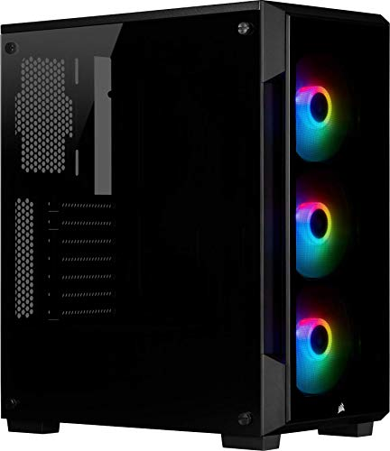 Corsair iCUE 220T RGB, Gehärtetem Glas Mid-Tower ATX Smart-Gehäuse - Schwarz