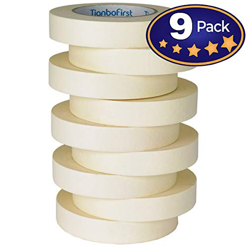 General Purpose Masking Tape for Home and Office, 0.94-Inch x 60 Yards, 9 Rolls by TIANBO FIRST