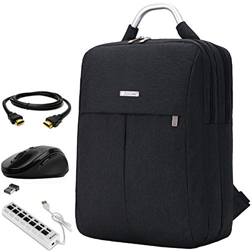 Black 15.6 inch Laptop Backpack, Mouse, HDMI Cable, and USB Hub for MacBook Pro 16-inch 15-inch