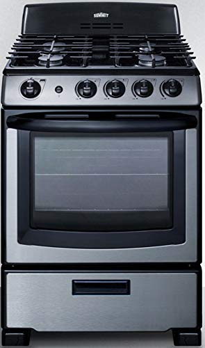 """Summit Appliance PRO247SS 24"""" Wide Gas Range in Stainless Steel with Oven Window, Electronic Ignition, Indicator Lights, Push-to-Turn Controls, Sealed Burners and Continuous Cast Iron Grates"""