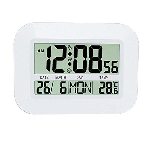 Gazechimp Reloj Despertador Digital de Pantalla Grande, Reloj de Pared, Termómetro, Calendario, Reloj