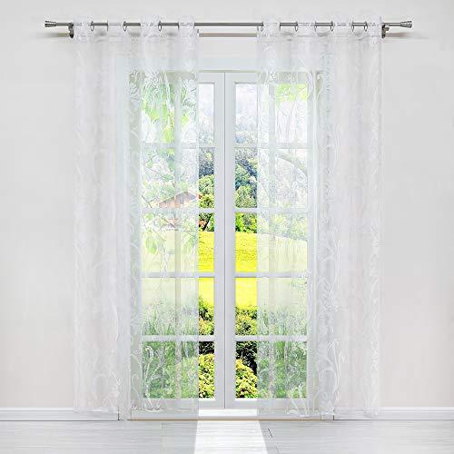 SCHOAL Gardinen mit Ösen Transparente Vorhänge Ausbrenner Fensterschal Modern Wohnzimmer Weiß Muster #4 BxH 140x225cm