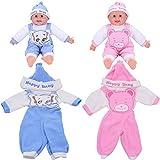 WENTS Puppenbekleidung 2PCS Puppenkleidung Set für New Born Baby Doll Hut, Outfits und Trägerhosen...