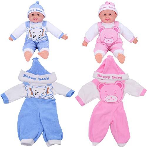 WENTS Ropa de Muñecas 2PCS Ropa de Muñecas para New Born Baby Doll Mono, Ropa de Muñeca Ropa de Bebe para Muñecas de Bebé en Tamaño18 Pulgadas(Rosado/Azul)