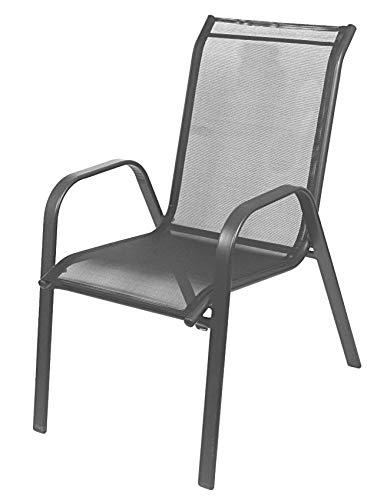 BURI Relax-Stapelstuhl mit Textilenebezug Stapelsessel Gartenstuhl Relaxstuhl Stuhl, Farbe:anthrazit