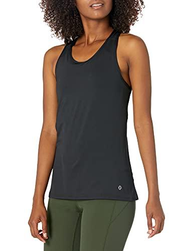 Amazon Brand - Core 10 Women's Fitted Run Tech Mesh Racerback, Black, Medium