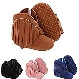 Infant Baby Girls Cowboy Tassel Boots Side Zipper Moccasins Soft Bottom Non-Slip Toddler Shoes For 0-18 Months