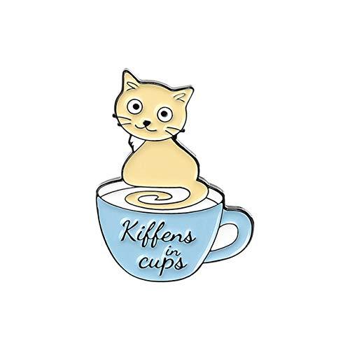 Cartoon Coffee Cup Cats Enamel Lapel Pins Coffee is Safe Place Kitten