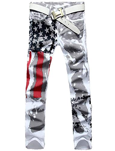 Dolpind Men's Fashion American Flag Printing Causal Pants Demin Trouser Jeans White