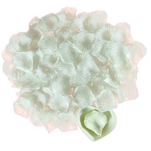 Ogquaton Pétalos de rosa artificiales de simulación de flores confeti decorativo para sala de boda, suministros de boda, 2000 unidades, color marfil resistente y práctico