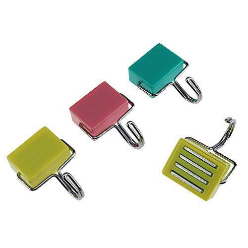 Log-Cabin wandhangers Multi-Purpose Haken Sterke Magnetische Haken voor sleutels, Coat, Koelkast en Deuren met Roze, Geel, Blauw Kleur 4 Pack Meerkleurig