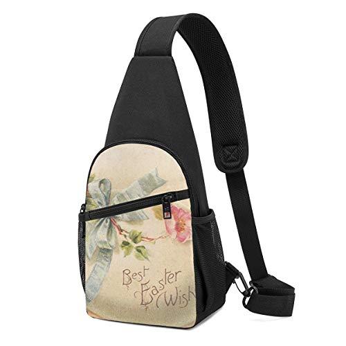 HUBGFEQ Sling Bag Best Easter Wishes Printed Shoulder Backpack Crossbody Purse Travel Hiking Chest Bag Daypack