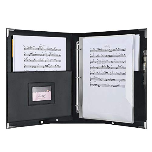 Eastar Leather Sheet Music Folder Black, 3 Rings Binder 13.5' x 10.5' Piano Music Choir Book with Elastic Hand Strap for,15 Pockets for Sheets A4 (New Version), ESMF-1