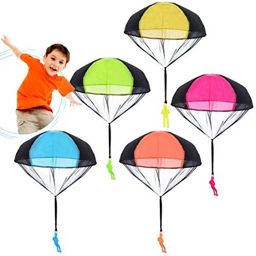 Fallschirm Spielzeug Kinder Fallschirmspringer Spielzeug, 5 Stück Fallschirmspielzeuge Kinder Hand Werfen Fallschirm Outdoor Flugspielzeug Geschenk für Kinder, Wurf Parachute Spiele für Draußen
