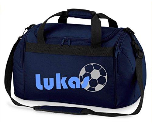Sporttasche mit Namen | inkl. NAMENSDRUCK | Motiv Fußball | Personalisieren & Bedrucken | Reisetasche Jungen Ball Sport-Verein | blau schwarz (dunkelblau)
