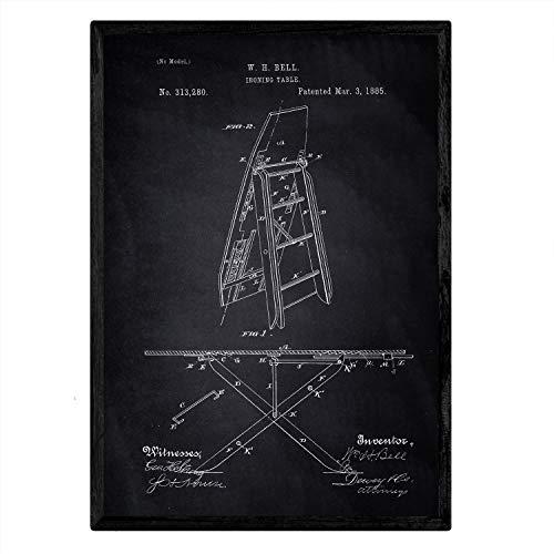 Poster Nacnic met patent-strijkplank. Blad met oud ontwerp patent A3-formaat met zwarte achtergrond