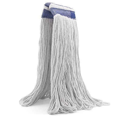 24盎司环形棉柱拖把头,重型柱拖把扣,6英寸头带,拖把头更换家居,工业和商业用途(白色)