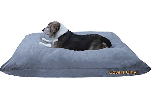 Do It Yourself DIY Pet Bed Pillow Duvet Suede Cover + Waterproof Internal case for Dog/Cat at Medium 36X29 Gray Color - Covers only