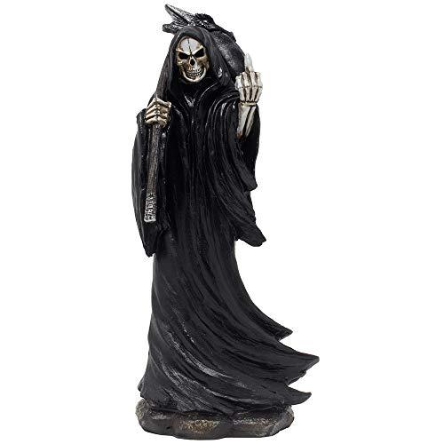 Evil Grim Sensenmann Flipping The Middle Finger Statuette mit Drachenkopf Sense für gruselige Halloween Dekorationen und Horrorfilm Gothic Dekor Figuren oder lustige Gag Geschenke für Mann Höhle