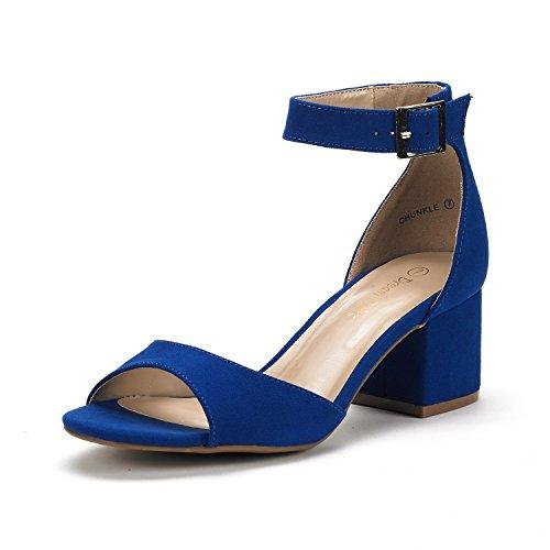 DREAM PAIRS Women's Chunkle Royal Blue Low Heel Pump Sandals Ankle Strap Dress Shoes - 7.5 M US
