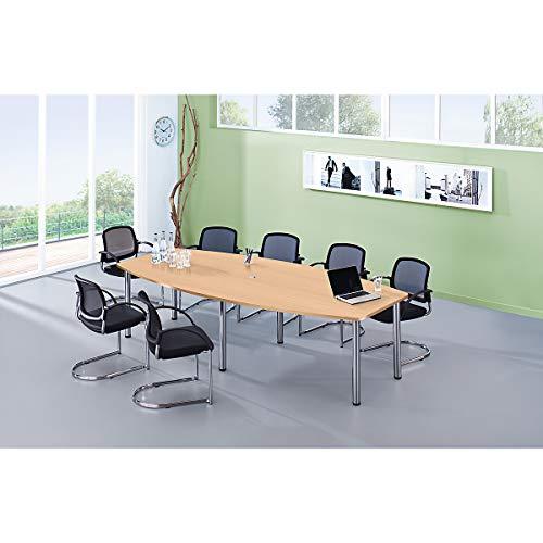 Hammerbacher Konferenztisch - Gestellvariante Rundrohrbeine, für 10 Personen - Buche-Dekor | KT28C/6
