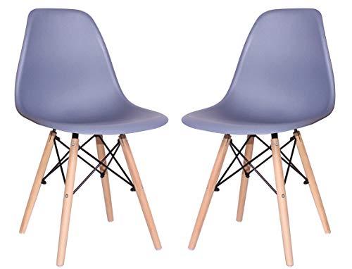 pemora 2-er Set Wohnzimmerstuhl Esszimmerstuhl Küchenstuhl Schalenstuhl Designer Kunststoff Stuhl Mila grau