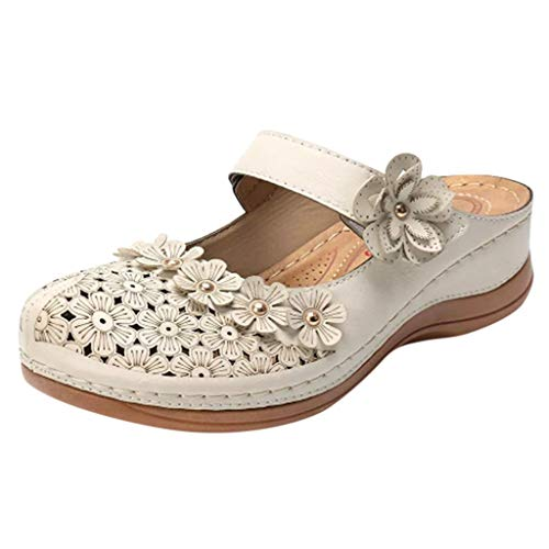 Driuankeji Summer Shoes for Women Girls Cute Flower Hollow Closed Toe Sandals Ladies Comfortable Soft Sole Shoes White