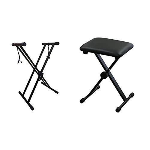 【セット買い】RockJam Xfinity キーボードスタンド RJXX363-MC & キクタニ キーボードベンチ ピアノイス X型 KB-60 ブラック