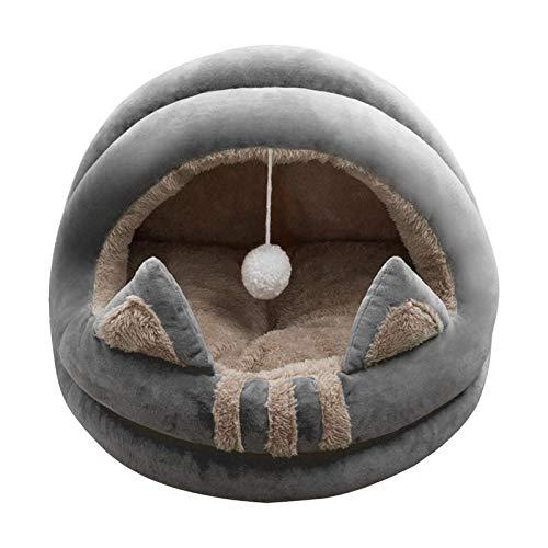 GAOZHEN Cuevas de Mascotas Suaves para Gatos y Camas para Perros semicerradas Casas Saco de Dormir para Cachorros Cama Fleece Cojín de Cama para nidos Cueva para Mascotas Cojín de Cama súper cálido