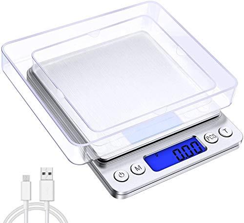 oFami Digitale Küchenwaage mit USB-Ladekabel,3kg * 0,1g oder 500g * 0.01g Mini Elektronische Waage, Taschenwaage, Grammwaage, mit Pcs Funktion,Tara-Funktion, LCD-Display