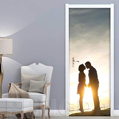 SPSPKZ 3D Door Art Door Wallpaper Mural Puerta Papel Tapiz Niños Cuarto Papel Pintado Poster Pareja De Paisajes Al Atardecer Junto Al Lago Baño Impermeable Extraíble Autoadhesivas Vinyl Decoración Hog