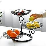 PEALOV Frutero de 3 Pisos,Cesta de Frutas de Metal, Fruteros de Cocina,3 Niveles con Forma de Hoja de Loto, Canasta de Frutas para encimera, Soporte para Cuenco Decorativo Desmontable de Metal