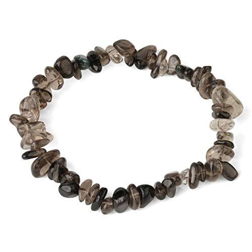Stone Bracelet,Vintage Unisex 7 Chakra Natural Gem Adjustable Bangle Irregular Gray Smoky-Crystal Stone Elastic Rope Beaded Bracelet Beaded Bracelets For Women Birthday Party Men Friend Gift