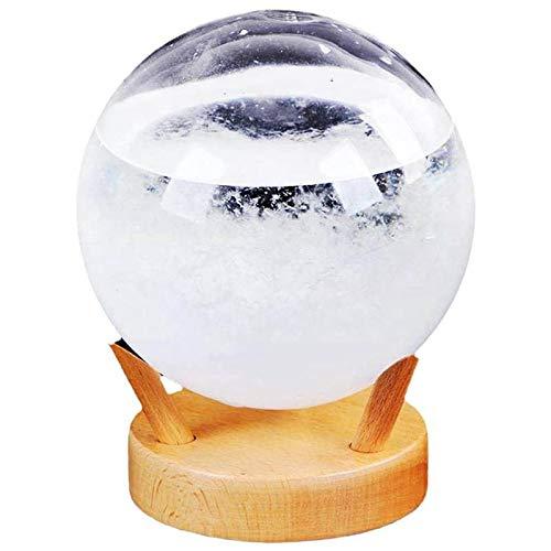 SODIAL Predictor del Tiempo de Cristal de Tormenta con Base de Madera, Peque?A EstacióN MeteorolóGica para Escritorio, Mesas, Indicador de Temperatura, Regalos