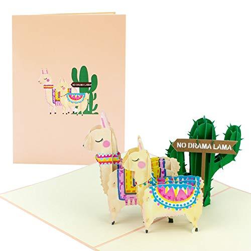 Karte zum Geburtstag No Drama Lama |witzig, lustig I Geburtstagskarte mit 3D Kaktus, Lama, Alpaka| Pop up Karte als Grußkarte, Glückwunschkarte oder Gutschein zum Geburtstag, G25