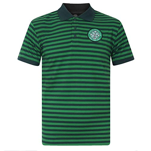 Celtic FC Official Soccer Gift Mens Striped Polo Shirt Green Marl Large