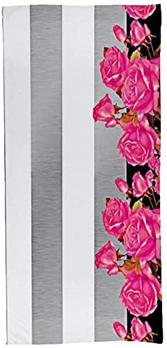Toallas para el cuarto de baño elegantes rayas blancas y plateadas con rosas toallas de baño de felpa suave y altamente absorbente de lujo Hotel & Spa toallas de calidad 70x140cm