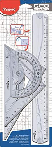 Maped 242767 Kit Righello con Squadre e Goniometro, 4 Pezzi, Multicolore
