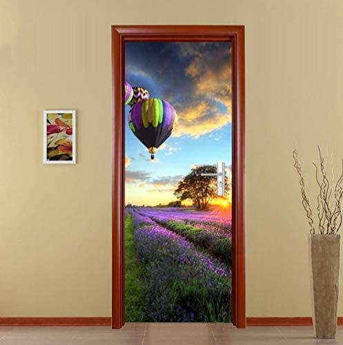 IXGMI deurstickers voor binnendeuren 3d bloem zee hete lucht ballon deur muurschilderingen schil en stok zelfklevende waterdicht verwijderbaar voor huisdecoratie PVC 95x215cm