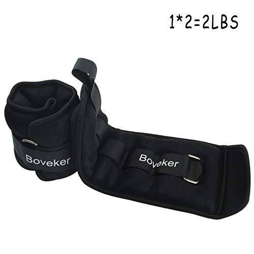 Boveker Ankle Wrist Weights 2 lbs/Pair Adjustable Strap for Men, Women, Kids - Resistance Training, Jogging, Walking, Aerobics - 1 lbs Each