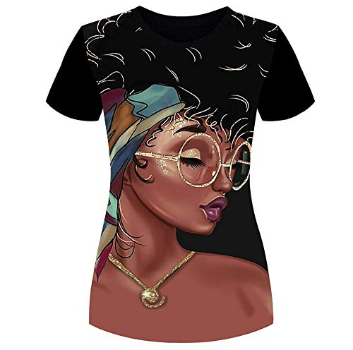 Women's T-Shirts Black Woman Afro Natural Hair 3D Floral Print Casual Tops for Women Tees L