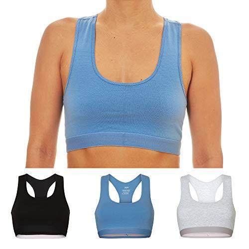 DANISH ENDURANCE Bralette BH voor Dames, 3-Pak, Biologisch Katoen, Zwart Blauw Grijs, Comfort Bra Stretch