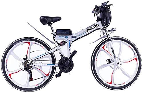 RDJM Bici electrica, 26 en Las Bicicletas Plegables eléctricos, 48V / 10A / 350W Doble Freno de Disco Completa suspensión Boost Bicicletas de montaña Ciclismo (Color : White)
